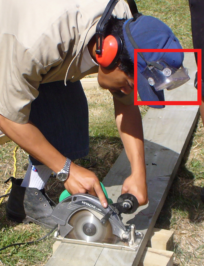 Worker inappropriately using eye protection