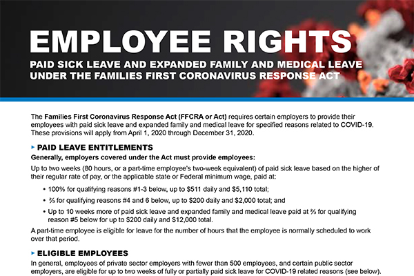 US Family First Corona Response Act (Emergency Sick Leave and Emergency FMLA) Poster